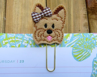 Yorkie Planner Paper Clip! Cute Yorkie Dog Feltie Gold Paperclip or Bookmark! Planner Accessory, Stationery Supply Yorkie Mom Gift