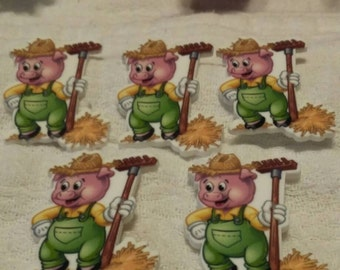 Flat back resin inspired by the three little pigs set of 5