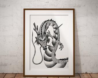 Dragonball Z Shenron, Anime, Stippling Black And White Ink Drawing, Giclee Print