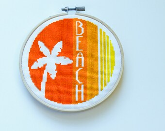 Palm Beach Sunset Cross Stitch, Hoop Art, Orange, Yellow