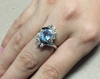 Size 7, Sterling silver shiny engagement ring, solid 925 silver with Swarovski crystal details and sapphire, stamped Sterling