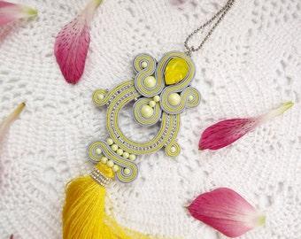 Soutache pendant long with tassel Soutache tassel necklace Soutache jewelry Long pendant soutache yellow grey Tassel pendant Long pendant
