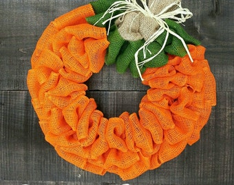 Pumpkin wreath burlap wreath Fall wreath Autumn wreath Harvest wreath Thanksgiving wreath Halloween wreath burlap wreath