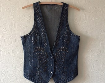 Denim Vest Studded Denim Vest Embellished Denim Vest Studded Vest Denim Waistcoat Women's Waistcoat Jeans Vest Fitted Vest Rocker Large Size