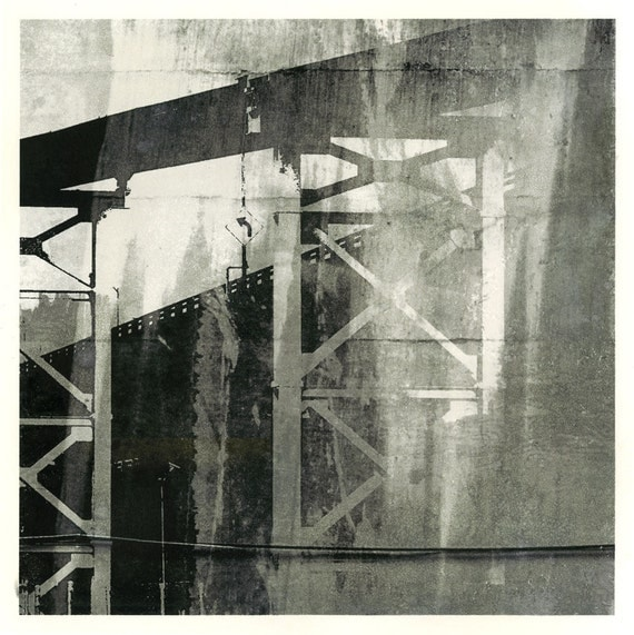 Ballad of Distances, unique print, urban decay, infrastructure, contemporary art, urban art, black and white, Seattle scene, iskra fine art