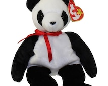 On Sale 50% Off Fortune the Panda Bear, Beanie Babies, Teddy Bears, Ty BeanieBabies, Kawaii, Toys, Bears, Panda Bears, Black and White Bears