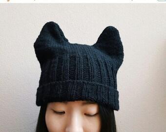 Winter Sale Knitted Ears Beanie -- Black