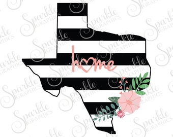 Texas Cut File Stripes Flowers Stripes State Black And White Stripes State Svg Dxf Eps Png Silhouette Cricut Cut File Commercial Use