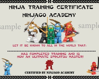 INSTANT DL- Ninjago Certificate- Ninjago  Birthday Party -Printable (not personalized)