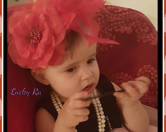 Baby girl  headband,Flower Headband, Valentines headband,Newborn Headband, Couture feather headband,Baby Bows,Luxury Headband.
