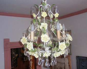 Beautiful Large Antique/Vtg Italian Tole Crystal Chandelier with Porcelain Roses