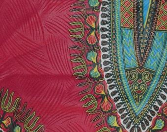 Fuchsia Dark Pink Dashiki Wax Prints African Ankara Fabric Per Panel