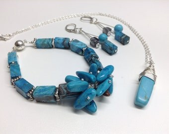Set of necklace, bracelet and earrings turquoise chrysocolla