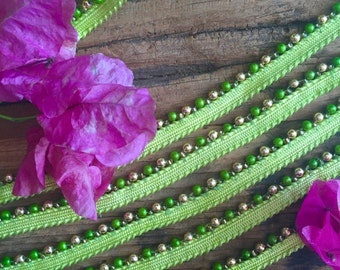 Green and gold Beaded Trim, embellishments, beads, sewing materials, accessories sewing notions, fabric trim, trims, cheap notions