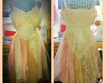 Tattered Peaches and Cream slip dress