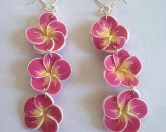 Raspberry Frangipani Plumeria Earrings