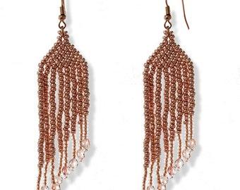 Beaded Long Earrings Golden Handmade Shimmering