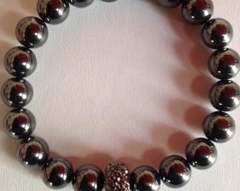 Natural Hematite Designer Gemstone Beaded Stretch Bracelet