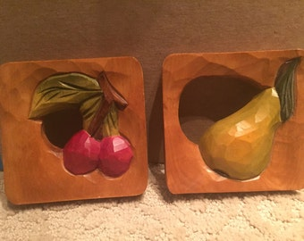 Wood Carved Fruit Wall Art Cherry Pear
