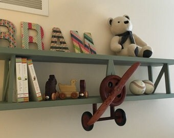 Handmade Wooden Airplane Shelf