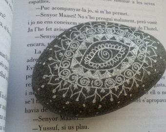 PAPERWEIGHT OPHTHALMOLOGY, stone with MANDALA white
