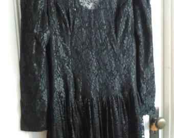 Vintage Scott McClintock Black Lace Prom Dress!