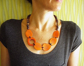 Tagua Nut Necklace ,Orange Ethnic Necklace, Orange Statement Necklace, Colombian Necklace,  Eco-Friendly Seed Bead Jewelry, Seed Necklace