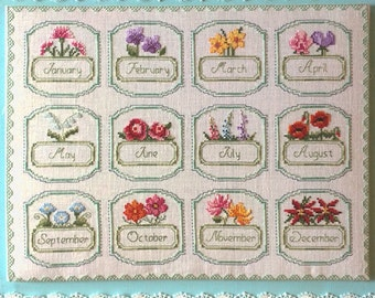 Cross Stitch Flower of the Month Sampler PDF  Pattern - Instant Download