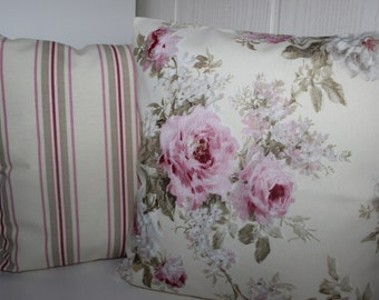 2 cushion covers rose + stripes all sizes