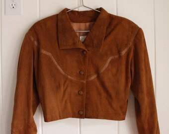 1980s Cache Cropped Suede Jacket