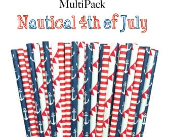 Nautical 4th of July (red, white, blue) Paper straw Multi Pack