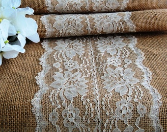 "14"" Wide Burlap Lace Table Runner, Ivory or White Lace Center, Rustic/Shabby Chic/Barn Wedding Reception Decor, Rustic Holiday Party Table"
