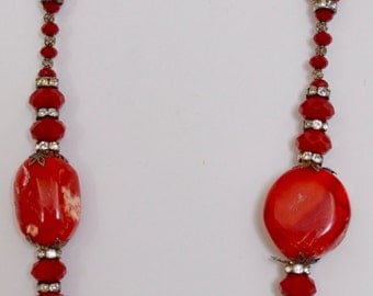 """25.5"""" Red Coral Necklace, handmade with beautiful assorted beads, weight 132.5 grams"""