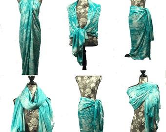 Turquoise Swim Suit Cover, Scarf, Swimwear Wrap Pareo, Sarong, Beach Cover up, Swim Cover, Swim Wrap,Turquoise Scarf,Long Scarf, Boho scarf