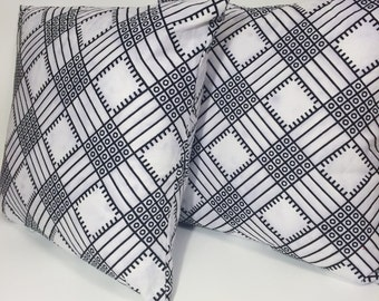 Graphic Printed Throw Pillow // Black and White Wax Print Cotton Pillow Cover // Striped Throw Pillow Cover // African Print Home Decor
