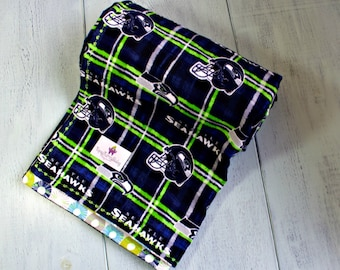Seahawks, Seahawks Baby Blanket, Baby Boy, Baby Gift, Receiving Blanket, Handmade, Extra Large Swaddler, Toddler Blanket, Football Blanket