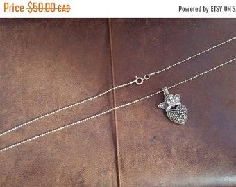 ON SALE Vintage Sterling Silver Necklace with Silver Cupid and Heart Pendant