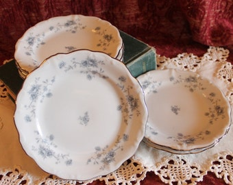 """Set of 6 Johann Haviland 6"""" Bread Plates - Blue Garland, Roses, Platinum Band, Floral in Excellent Condition!"""