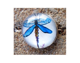 20mm Interchangeable Snap Charm, Blue Dragonfly, Snap Into Any Accessory, Rhodium Plated, 4 Available