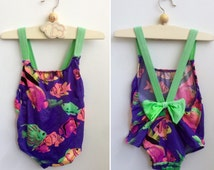 Vintage Toddler Swimsuit in Neon Colors size 1 T to 2T, Scandinavian Multi Colors Baby Girl's Bathing Suit with Fish and a Neon Green Bow