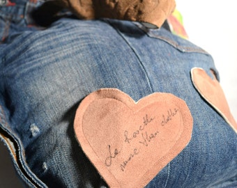 WITH LOVE - girl's jeans recycled into denim bag,customized by La Rosette