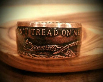Don't Tread on Me / Gadsden Flag Ring - DTOM - Don't tread on Me Ring - Snake Ring - Patriotic Ring - Hand Forged .999 Pure Copper Coin Ring