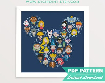 50% OFF SALE, Disney Mickey Cross Stitch Pattern, Mickey Mouse Silhouette Cross Stitch, Disney Minis Character Сartoon Counted xStitch Chart