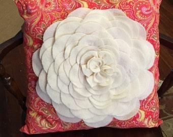 Orange Floral Paisley Pillow