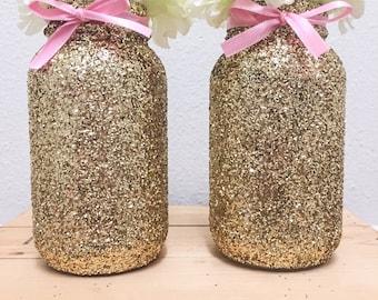 gold glitter mason jar with pink bow gold glitter mason jar pink