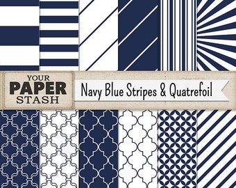 Stripe Digital Paper, Quatrefoil Digital Paper, Navy Blue, Stripe, Nautical, Patriotic, Wide Stripe, Scrapbook Paper, Paper Pack, Commercial
