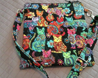Quilted Zentangle cat pattern crossover strap bag