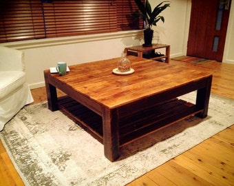 Recycled wood coffee table with bottom shelf