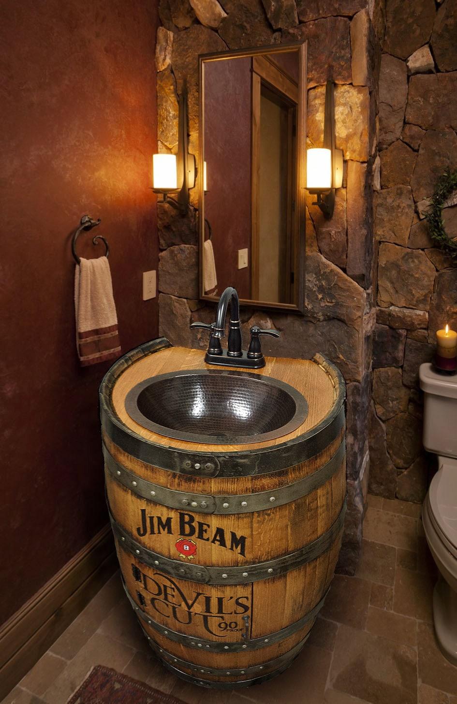 Whiskey Barrel Sink Hammered Copper Rustic Antique Bathroom Bar Man Cave Vanity Wine Oak
