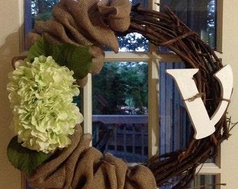 Double door grape vine wreath hydrangeas burlap simple elegance